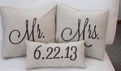 gift, mr mrs pillows