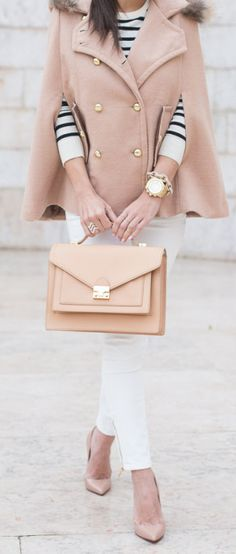Stripes, blush and white outfit. Woman Fashion, Cloth, Style, Capes, Neutral Palette, Fall, Closet, Winter Pastel, Cape Coat Outfit
