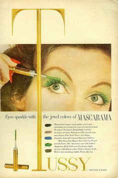 Coloured mascara from the 1950s - love it! #1950s #vintage #fifties #makeup #beauty #cosmetics #fashion #style #mascara #beautyproducts #makeup #trends #cosmetics