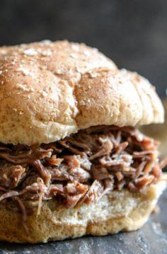 Crockpot Brown Sugar + Roasted Garlic Pulled Pot Roast Sandwiches