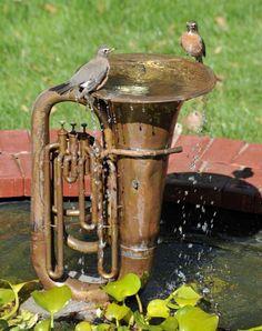 Upcycled water fountain/birdbath french horn, water gardens, birdbaths, water features, bird baths, trumpet, musical instruments, garden fountains, birds