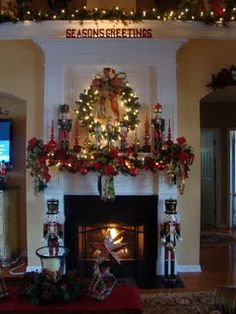 Christmas Mantle and ideas for upper lighting in living room