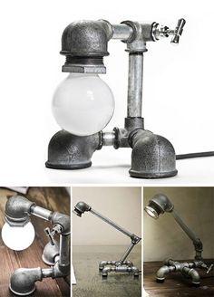 Lighting Made of Galvanized Iron #Galvanized, #Iron, #Light, #TableLamp, #Upcycled