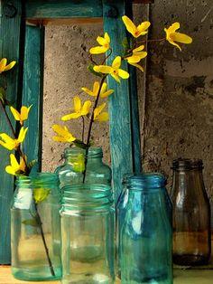 diy tinted glass jars.