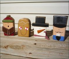 Christmas Character Blockhead set caroler by craftjunkie28 on Etsy, $16.99