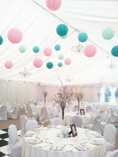 Wedding Lanterns in the Marquee at Clonabreany House