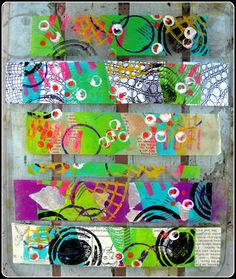 A Simpler Life: [And She Blogs again...]  gelli plate was played with... and prints made on packaging tape...