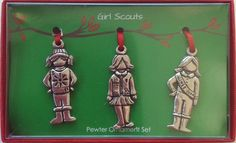 3 Piece Girl Scout Pewter Ornament Set- $17.00