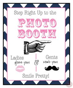 Photo Booth Sign  - Ladies and Gents - Navy Blue and Pink - Photo Booth Props -  wedding, birthdays - Preppy Photo Booth SIgn Series. $8.00, via Etsy.