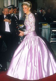 Diana wore this stunning pink silk gown on an official state visit to India in 1992.