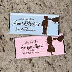 60 Personalized FIRST COMMUNION Candy Bar Wrappers - Boy or Girl - Cute Favors. $36.00, via Etsy.