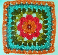 Flowered Square - Inspiration - no pattern but looks like it would be easy to copy from this pic