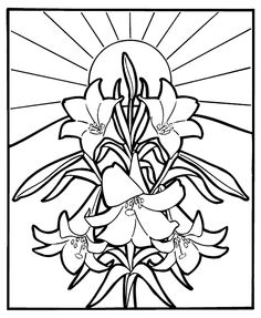 easter lilies coloring sheet