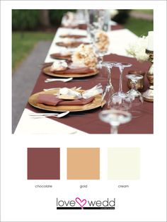chocolate gold and cream #color palette #wedding