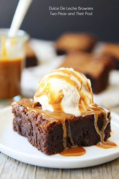 Dulce De Leche Brownie Recipe on twopeasandtheirpod.com Top with ice cream and dulce de leche for a divine dessert!