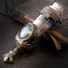 Mythic Forest Vessel  moss agate, birch bark