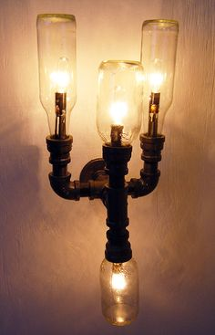 Industrial Wall Sconce, plumbing pipe