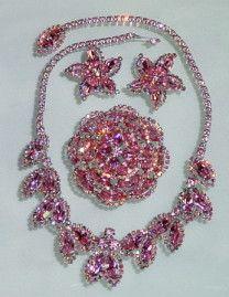 Weiss pink rhinestone full parure, 3 piece set, necklace,bracelet,earrings
