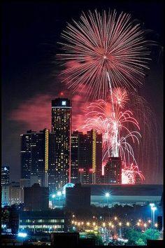 Lovely Detroit Riverfront Fireworks