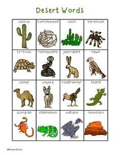 Writing Center Tools- Desert Words