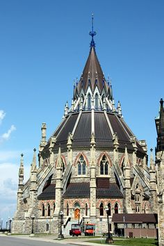 Great gothic architecture - national library, part of Parliament Buildings in Ottawa