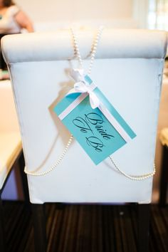 Tiffany Inspired chair back decoration -| Photography: Nick Yutaka | Event Design  Planning: Petite Productions