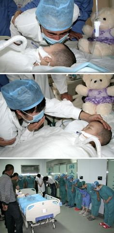 A father and mother kissing their dying little girl goodbye. If you are wondering why all the medic people are bowing: in less than an hour, two small children in the next room are able to live thanks to the little girl's kidney and liver.