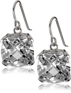 "CZ by Kenneth Jay Lane ""Trend CZ"" Cushion Cross-Cut Earrings"