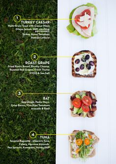 Gourmet sandwiches. //Roast grape and ricotta cheese, I want to eat you.