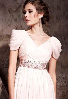 Pink V-neck Woven Beads Belt Floor-length Formal Dress 81062