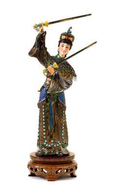 Chinese Silver Sterling Enamel Lady Sword Turquoise Bead Figure Figurine | eBay