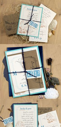 Destination Chic - Beach Wedding Invitations - Aqua, Brown Kraft, Navy Twine, Ivory