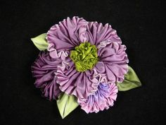 Ruched Ombre Ribbon Flower Pin Brooch Corsage Hair Shoe Clips - Lavender Purple Green. $22.00, via Etsy.