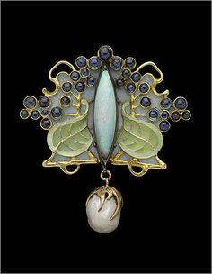 Art Nouveau gold, silver, enamel, sapphire, opal and pearl brooch