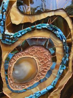 """abstract glass mosaic blue and brown swirls """"Topaz Pool"""" by Lori Desormeaux"""