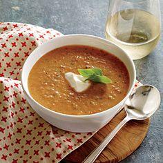 summer soups, cooking light, cold soups, soup recipes, tomatobasil soup, cook light