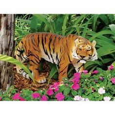 Imagine looking out at your garden to discover our majestic, boldly colored, wild feline sculpture on the prowl! The heart of Indonesia wildlife is captured in our two-foot-long, Tiger garden sculpture. Our artist has taken great care with the tiger's credible pose and realistic eyes to create a fitting addition to your home or garden. This fiercely beautiful tiger statue is amazingly detailed, cast in quality designer resin, and hand-painted with characteristic thick black tiger stripes that...
