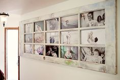 Old door turned into a photo board. -- I love this!