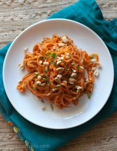Raw Carrot Pasta with Peanut Sauce-Delicious. I added scallions and shrimp, and it was really wonderful. I love peanut sauces, and this is a good one.