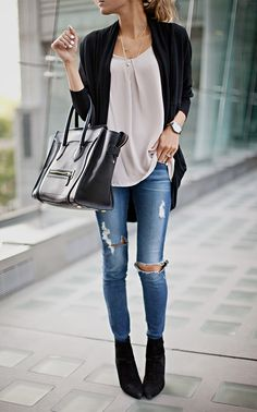 Skinny destroyed jeans, loose top, ankle booties and cardigan for fall.