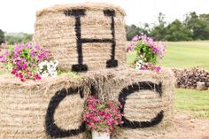 Monogrammed Hay Bales At A Country Wedding