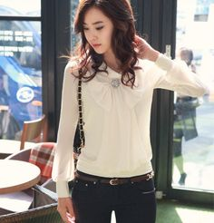 #2012 Japan Fashion Style 2012 Women New Autumn Bowknot Long Sleeve Shirts Stand Neck Ladies Chiffon T Shirt Free Shipping  Women's T-Shirts #2dayslook #T-Shirts #fashion #new www.2dayslook.com