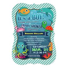 It's a Boy! Super cute, fun sea life, nautical theme girl baby shower invite on teal green and white stripes with bright colors.  Colorful, aquatic, cartoon sea creatures include aqua and yellow octopus, green and orange sea turtle, teal and orange fish, turquoise dolphin, orange seahorse, light pink crab, and orange and pink coral on the ocean floor.  Funny fonts appear to be floating underwater with bubbles under the ocean in the background.