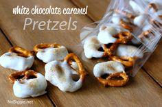 to make: white chocolate caramel pretzels