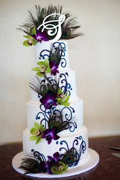 """Peacock cake """"have to have this one!!!!! YES JUST NEEDS A SEAFOAM GREEN BACKGROUND AND A TOPPER"""