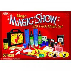 Mega Magic Show is a magic kit with more than 64 pieces for learning and performing more than 220 magic tricks.