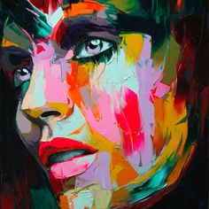 Fashion illustration - how can such vivid color make up a beautiful face like this - love! makes me want to get out my oil paints and paint with such vision