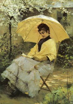 Woman and Parasol (1886). Albert Edelfelt (Finnish, 1854-1905). Edelfelt admired the poet laureate Johan Ludvig Runeberg who was a friend of the family. The company of Runeberg had a lasting impact on Edelfelt, who from time to time turned to scenes from Finnish history in his paintings. Edelfelt went on to illustrate Runeberg's epic poem The Tales of Ensign Stål.