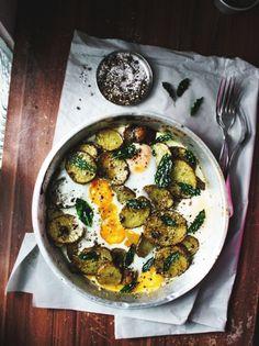 Pesto potato eggs