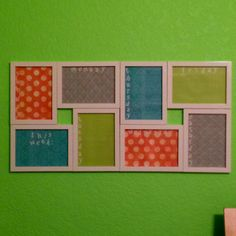 Stolen idea, but I used 8 separate white frames and put them together to make a weekly calendar for the wall. Scrapbook paper for the backgrounds, use dry erase markers to write on the glass. :)